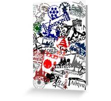 Travel Destination Passport Stamps Greeting Card