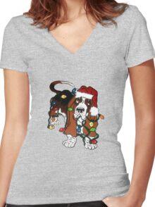 Basset Christmas Helper Women's Fitted V-Neck T-Shirt
