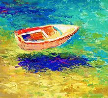 Impressionistic Sunlit Boat seascape painting Svetlana Novikova by Svetlana  Novikova