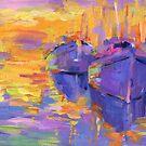 Boats in a sunset impressionistic painting Svetlana Novikova by Svetlana  Novikova