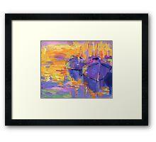 Boats in a sunset impressionistic painting Svetlana Novikova Framed Print