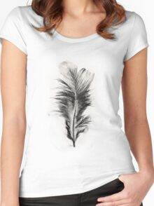 Feather in Charcoal Women's Fitted Scoop T-Shirt