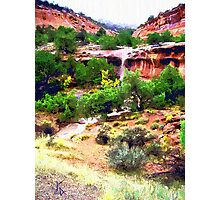 Canyon Run Off Landscape Oil Photographic Print