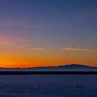 Sunset from Farmington Bay to Antelope Island Panoramic by utahwildscapes