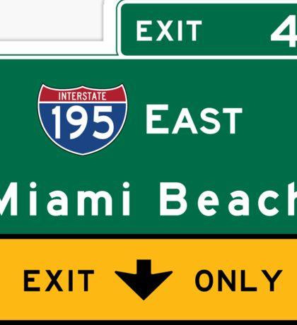 Miami Beach Road Sign, Florida Sticker