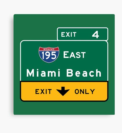 Miami Beach Road Sign, Florida Canvas Print