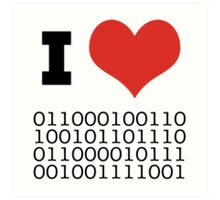 I Heart Binary Art Print