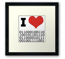 I Heart Binary Framed Print