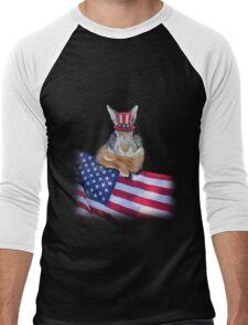Patriotic Bunny Rabbit Men's Baseball ¾ T-Shirt