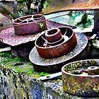 Antique Metal Cogs - colour by Janine Barr