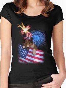 Patriotic Sheltie Puppy Women's Fitted Scoop T-Shirt