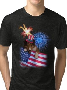 Patriotic Sheltie Puppy Tri-blend T-Shirt