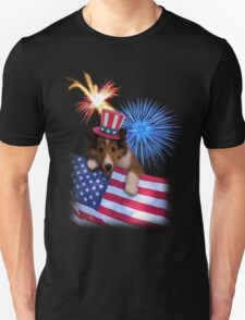 Patriotic Sheltie Puppy T-Shirt