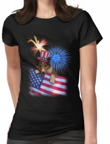 Patriotic Sheltie Puppy Womens Fitted T-Shirt