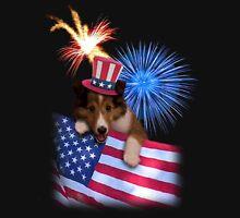 Patriotic Sheltie Puppy T-Shirt
