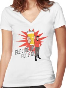 Beer Me Up Scotty Women's Fitted V-Neck T-Shirt