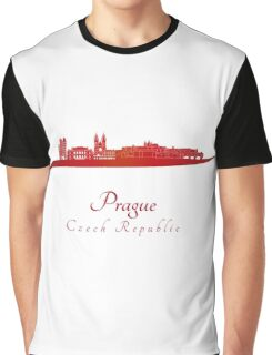 Prague skyline in red Graphic T-Shirt