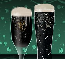 St. Patrick's Day Card With Two Pints of Irish Dry Stout Beer by Moonlake