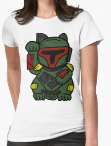 LUCKY BOBA CAT Womens Fitted T-Shirt