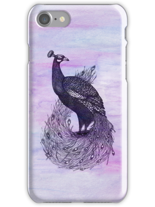 Long Tailed Peacock with watercolour background by samclaire