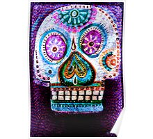 Purple Day of the Dead Sugar Skull folk art painting Poster