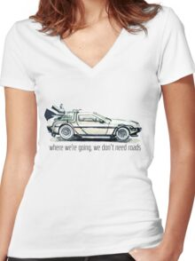 where we're going, we don't need roads Women's Fitted V-Neck T-Shirt