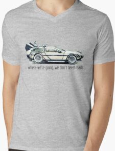 where we're going, we don't need roads Mens V-Neck T-Shirt