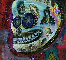 White Flower Covered Sugar Skull painting by dayofthedeadart