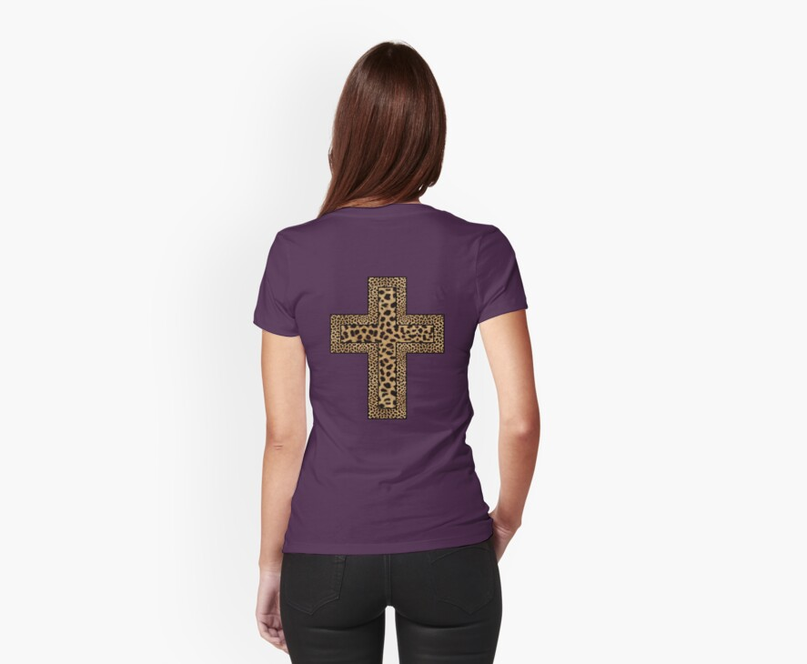 Cheetah Print Crucifix T-Shirt by simpsonvisuals