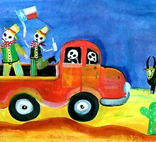 Texas COWBOYS Day of the Dead by dayofthedeadart