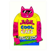 Cool Cats - Yellow / Justice Cat Art Print