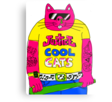 Cool Cats - Yellow / Justice Cat Metal Print