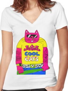 Cool Cats - Yellow / Justice Cat Women's Fitted V-Neck T-Shirt