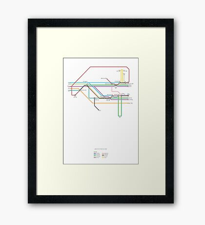Back To The Future character map Framed Print