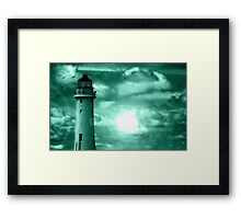 Lighthouse Collaboration in Turquoise Framed Print