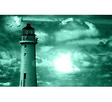 Lighthouse Collaboration in Turquoise Photographic Print