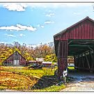 OLD BARN AND OLDER COVERED BRIDGE by Randy & Kay Branham
