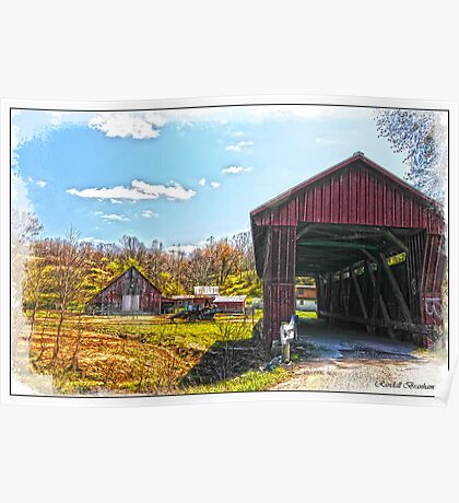 OLD BARN AND OLDER COVERED BRIDGE Poster