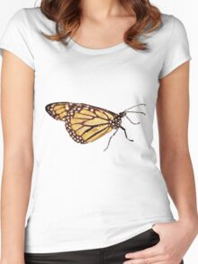 Monarch Butterfly Print Women's Fitted Scoop T-Shirt