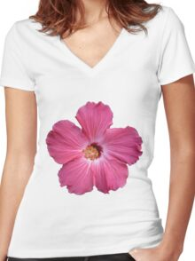 Pink Flower Print Women's Fitted V-Neck T-Shirt