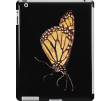 Monarch Butterfly Print On Black iPad Case/Skin