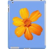 Orange Yellow Flower Print On Blue iPad Case/Skin