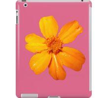 Orange Yellow Flower Print On Pink iPad Case/Skin