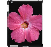 Pink Flower Print On Black iPad Case/Skin
