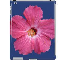 Pink Flower Print On Blue iPad Case/Skin