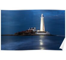Dusk at St Mary's Lighthouse Poster