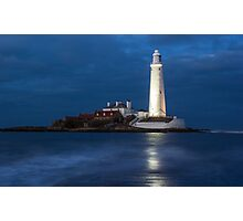 Dusk at St Mary's Lighthouse Photographic Print
