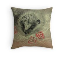 hedgehog and roses Throw Pillow