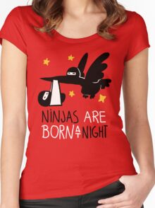 Ninjas are born at night... Women's Fitted Scoop T-Shirt