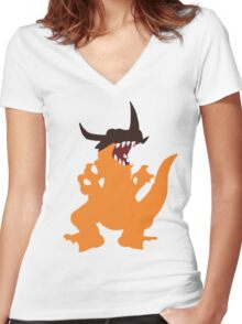 Simplistic Greymon Women's Fitted V-Neck T-Shirt